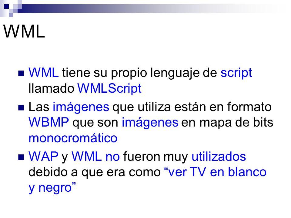 WML WML tiene su propio lenguaje de script llamado WMLScript