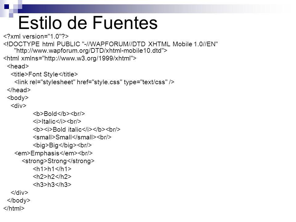 Estilo de Fuentes < xml version= 1.0 >