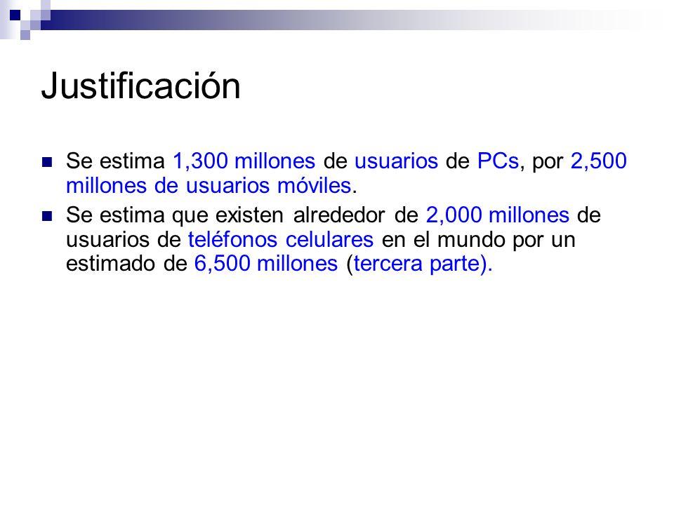 Justificación Se estima 1,300 millones de usuarios de PCs, por 2,500 millones de usuarios móviles.