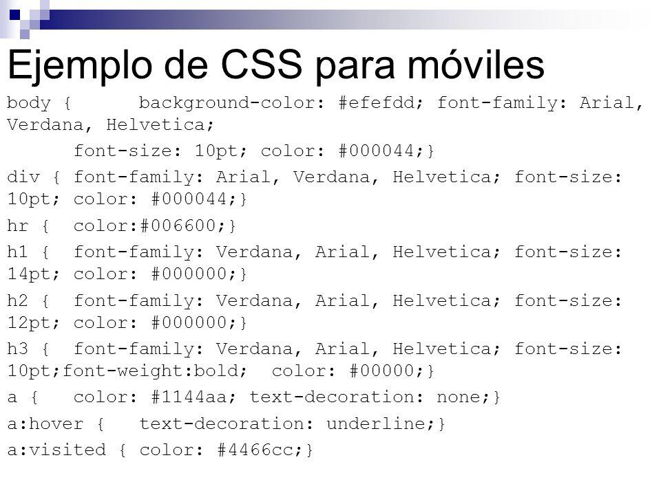 Ejemplo de CSS para móviles