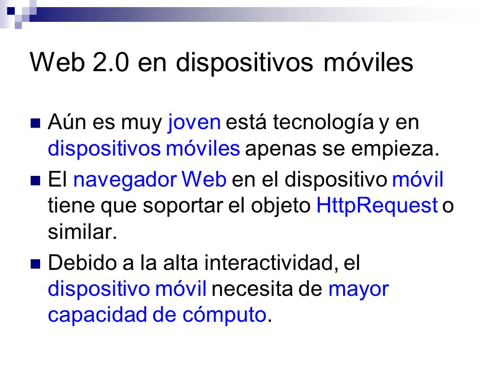 Web 2.0 en dispositivos móviles