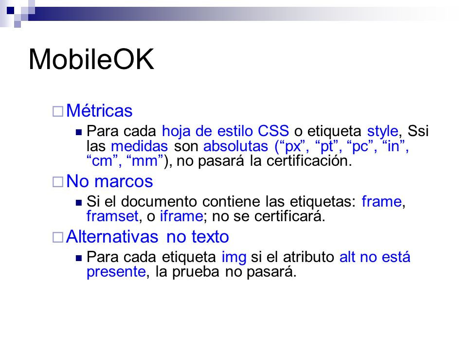 MobileOK Métricas No marcos Alternativas no texto