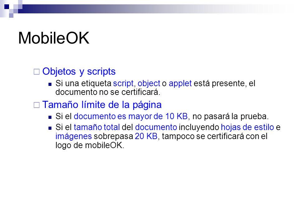 MobileOK Objetos y scripts Tamaño límite de la página