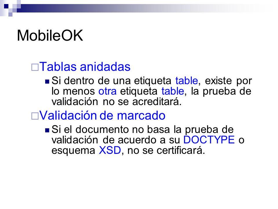 MobileOK Tablas anidadas Validación de marcado