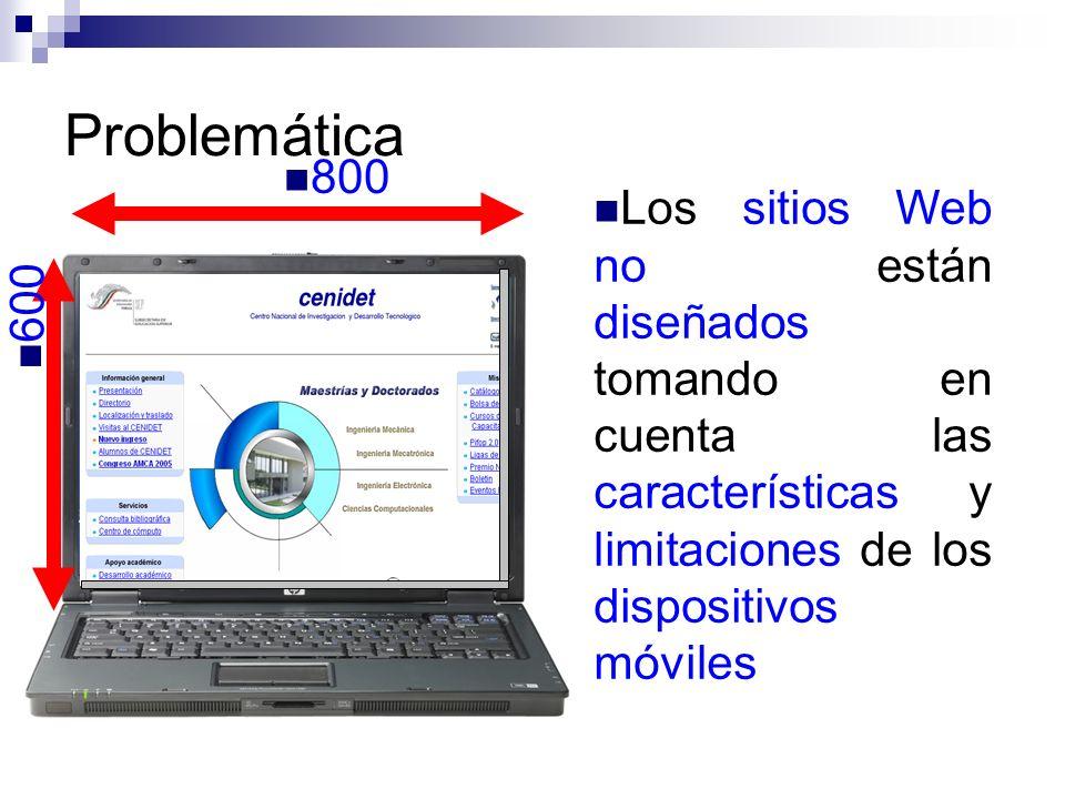 Problemática 800. 176. 212. Los sitios Web no están diseñados tomando en cuenta las características y limitaciones de los dispositivos móviles.
