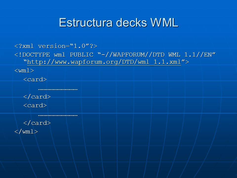 Estructura decks WML < xml version= 1.0 >