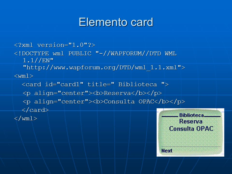 Elemento card < xml version= 1.0 >
