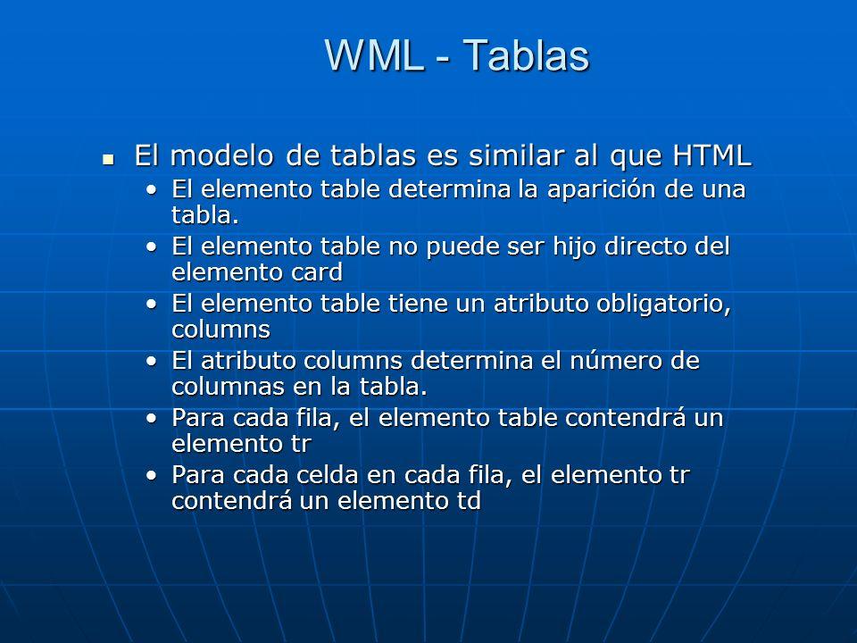 WML - Tablas El modelo de tablas es similar al que HTML