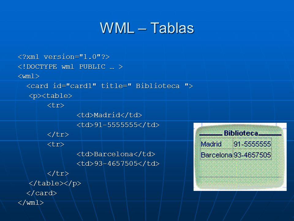 WML – Tablas < xml version= 1.0 >