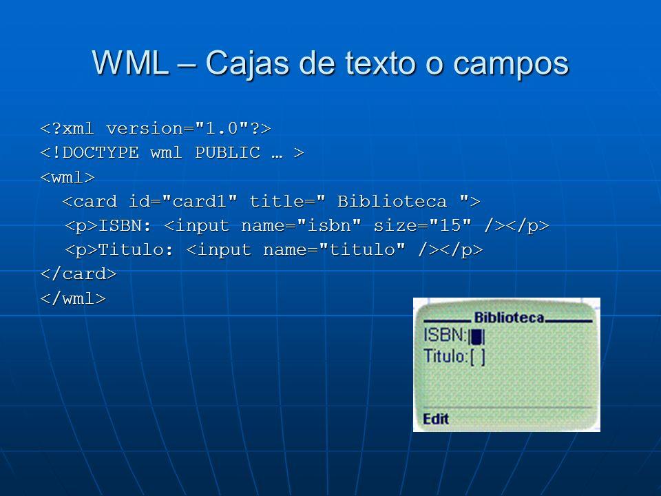 WML – Cajas de texto o campos