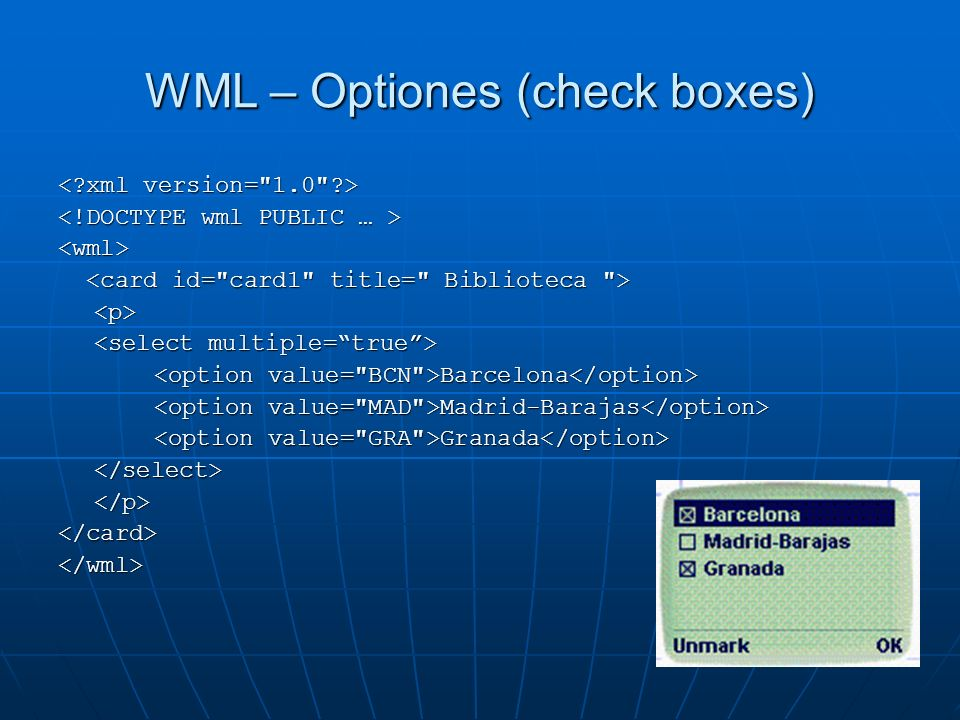 WML – Optiones (check boxes)