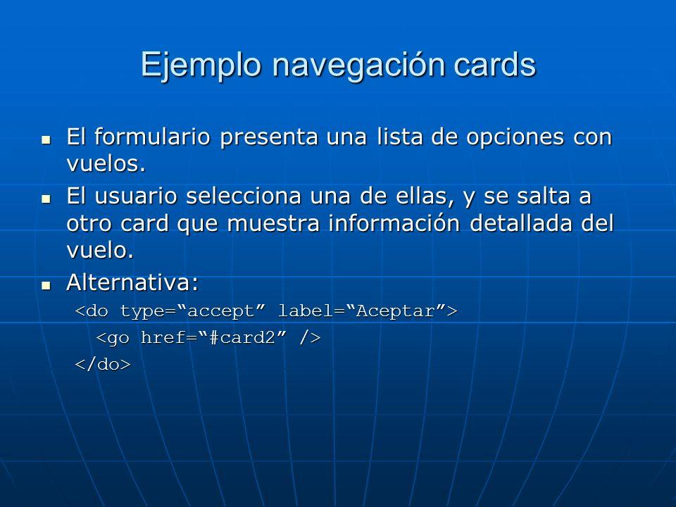 Ejemplo navegación cards