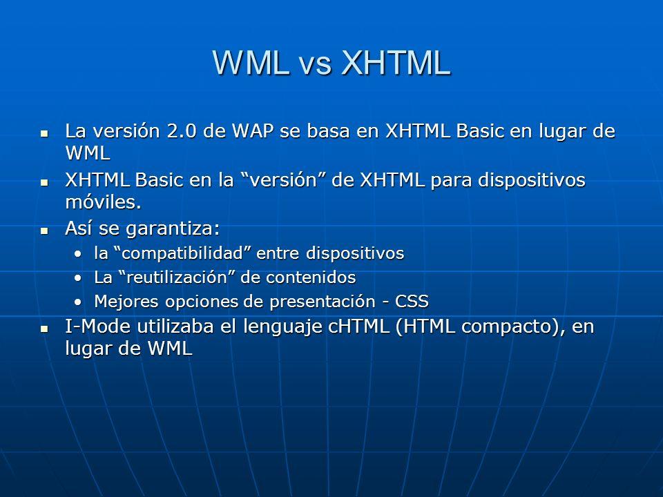 WML vs XHTML La versión 2.0 de WAP se basa en XHTML Basic en lugar de WML. XHTML Basic en la versión de XHTML para dispositivos móviles.