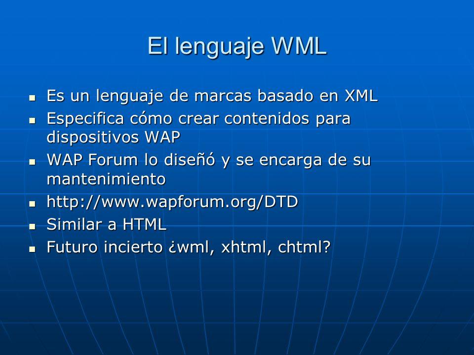 El lenguaje WML Es un lenguaje de marcas basado en XML