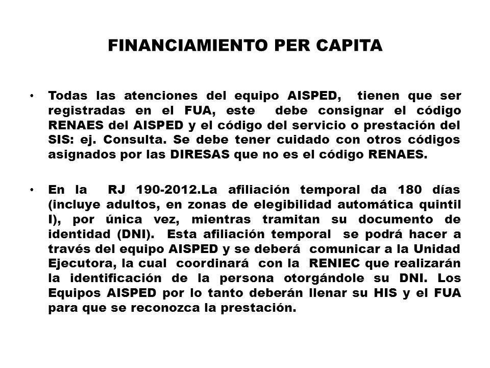 FINANCIAMIENTO PER CAPITA
