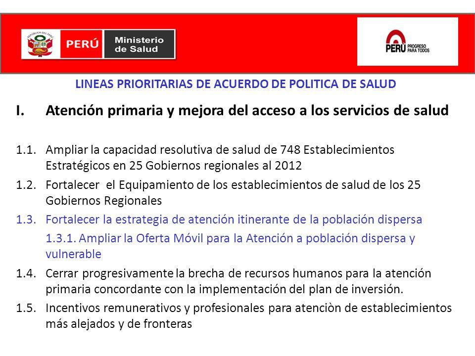 LINEAS PRIORITARIAS DE ACUERDO DE POLITICA DE SALUD