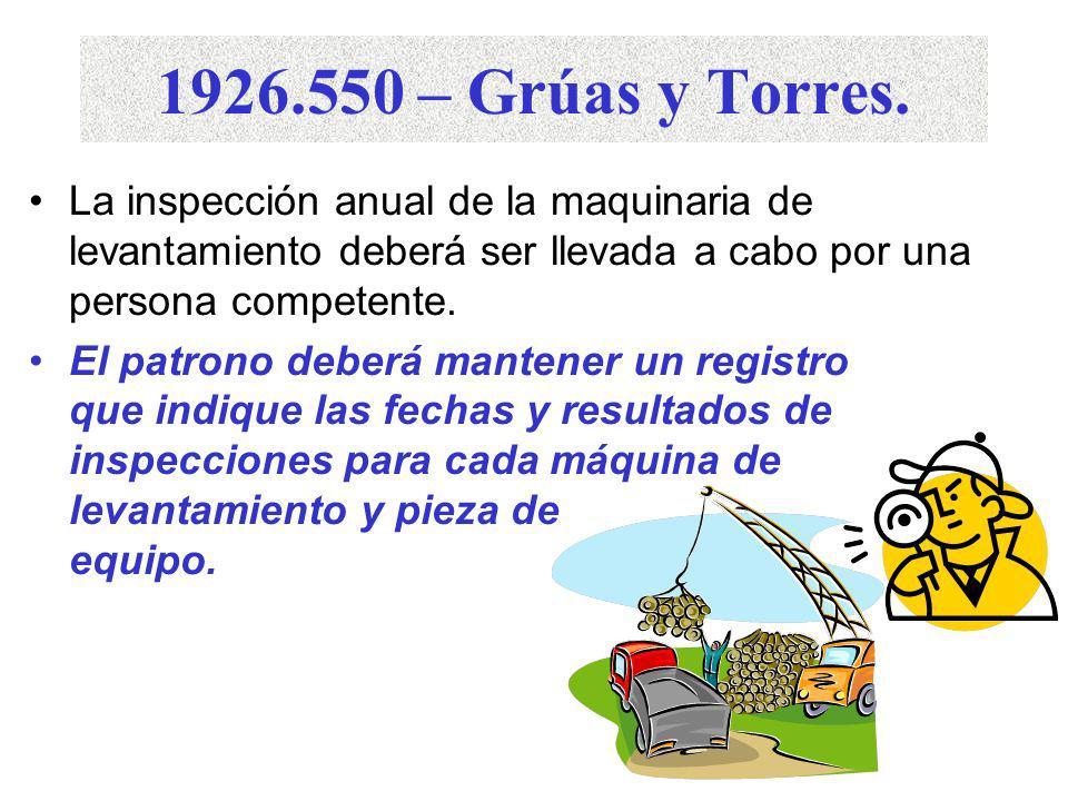 1926.550 – Grúas y Torres. La inspección anual de la maquinaria de levantamiento deberá ser llevada a cabo por una persona competente.