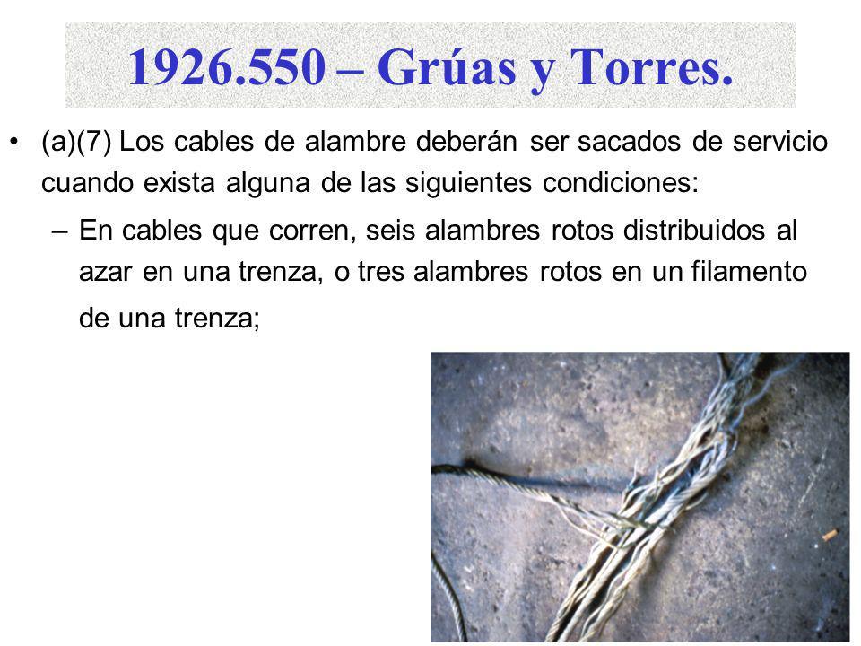 1926.550 – Grúas y Torres. (a)(7) Los cables de alambre deberán ser sacados de servicio cuando exista alguna de las siguientes condiciones: