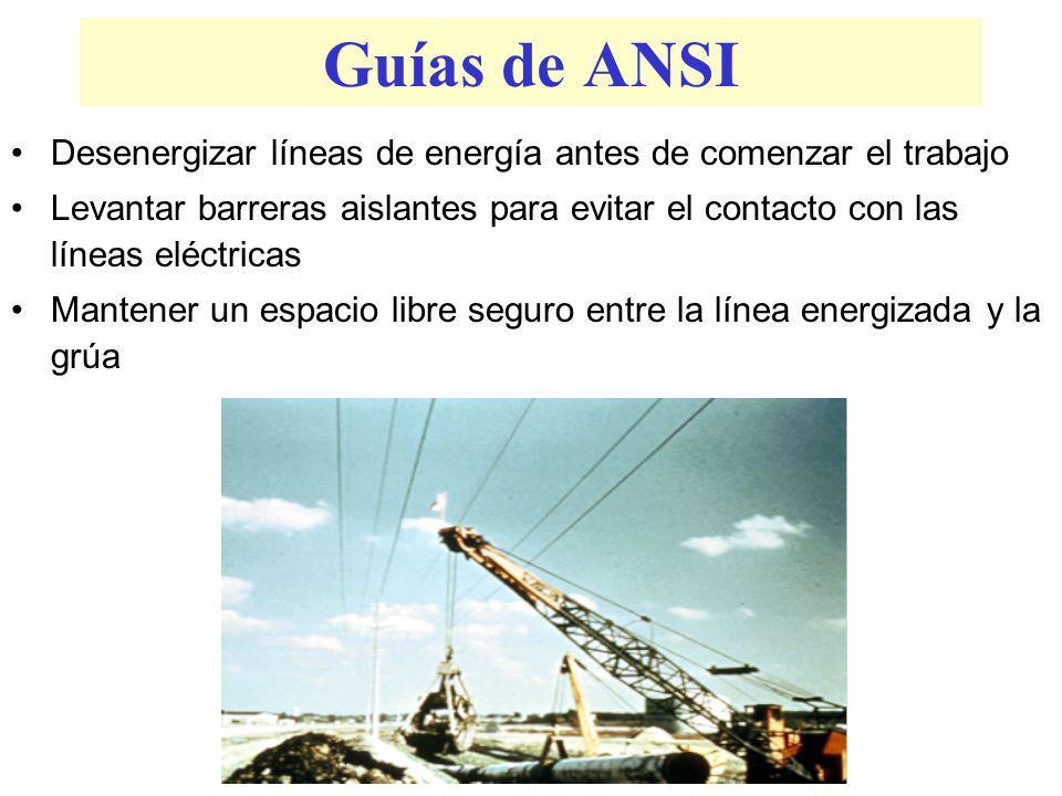 Guías de ANSI Desenergizar líneas de energía antes de comenzar el trabajo.