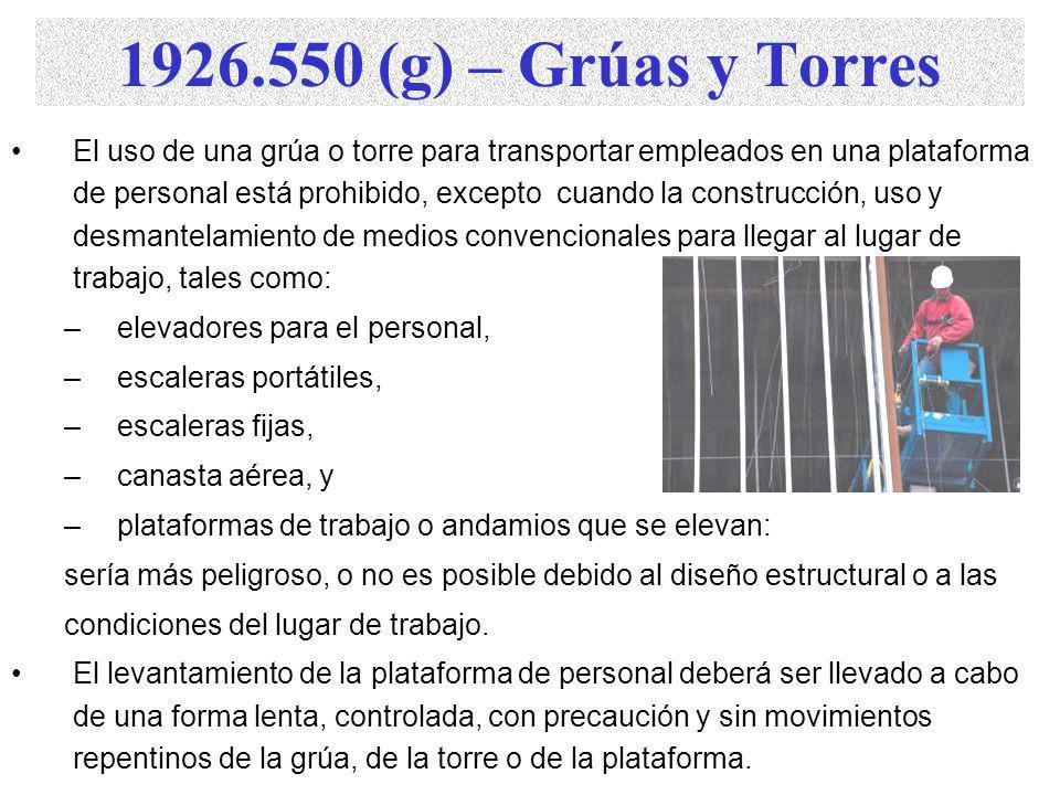 1926.550 (g) – Grúas y Torres