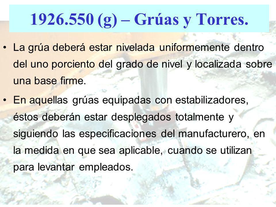 1926.550 (g) – Grúas y Torres.