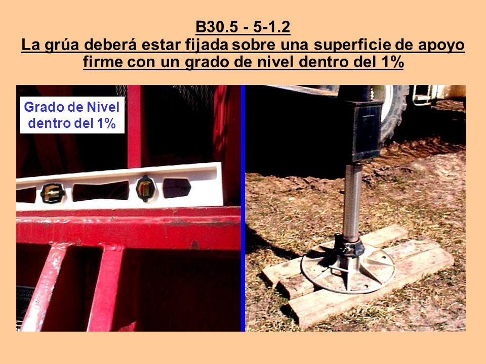 B30.5 - 5-1.2 La grúa deberá estar fijada sobre una superficie de apoyo firme con un grado de nivel dentro del 1%
