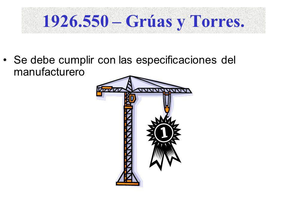 1926.550 – Grúas y Torres. Se debe cumplir con las especificaciones del manufacturero.