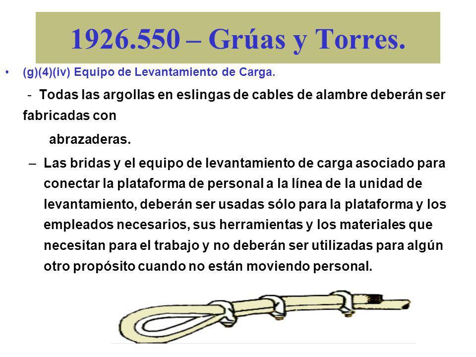 1926.550 – Grúas y Torres. (g)(4)(iv) Equipo de Levantamiento de Carga.