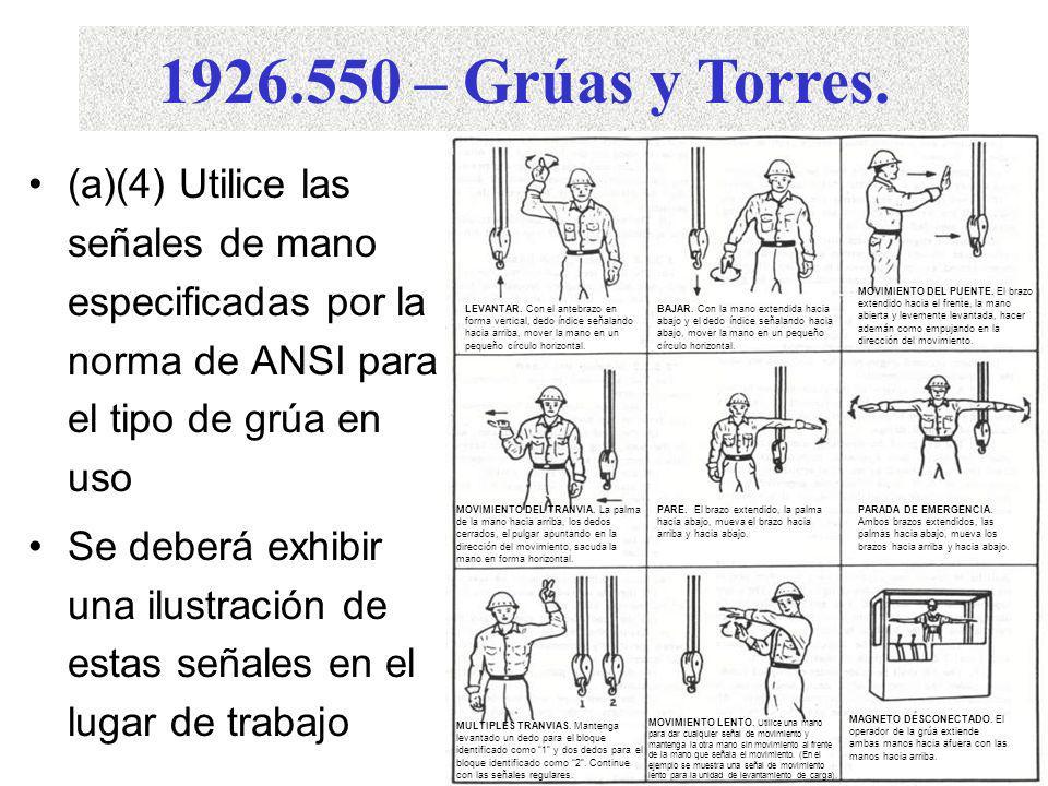 1926.550 – Grúas y Torres. (a)(4) Utilice las señales de mano especificadas por la norma de ANSI para el tipo de grúa en uso.