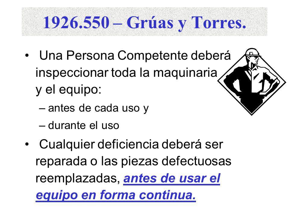1926.550 – Grúas y Torres. Una Persona Competente deberá inspeccionar toda la maquinaria y el equipo: