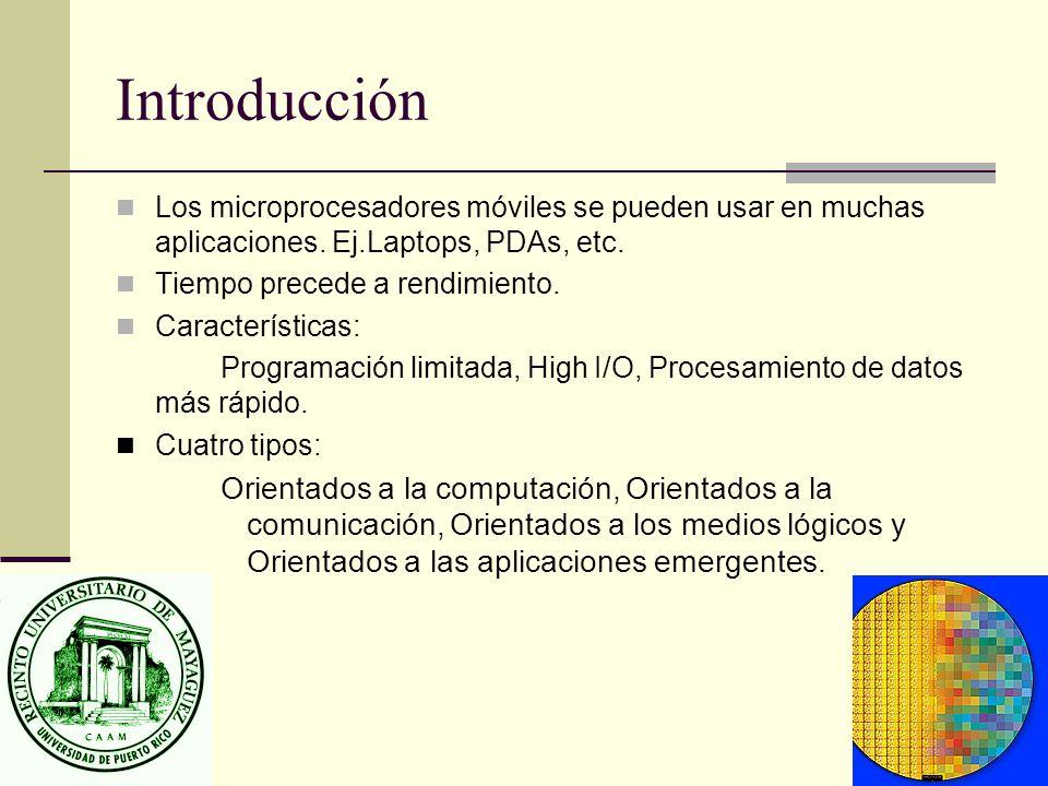 Introducción Los microprocesadores móviles se pueden usar en muchas aplicaciones. Ej.Laptops, PDAs, etc.