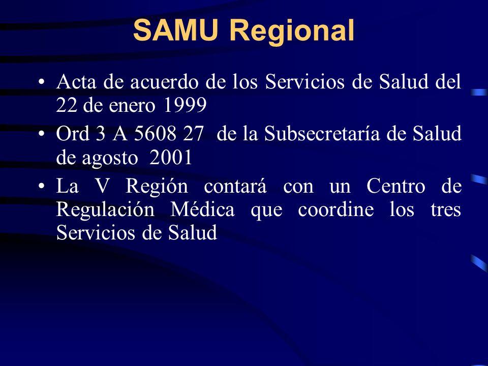 SAMU Regional Acta de acuerdo de los Servicios de Salud del 22 de enero 1999. Ord 3 A 5608 27 de la Subsecretaría de Salud de agosto 2001.