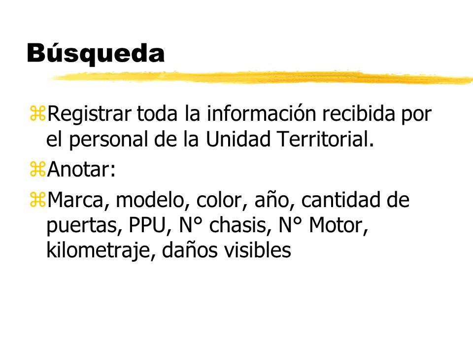 Búsqueda Registrar toda la información recibida por el personal de la Unidad Territorial. Anotar: