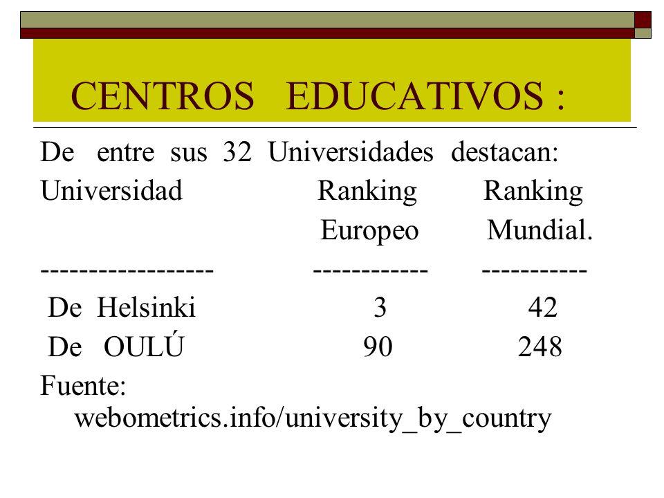 CENTROS EDUCATIVOS : De entre sus 32 Universidades destacan: