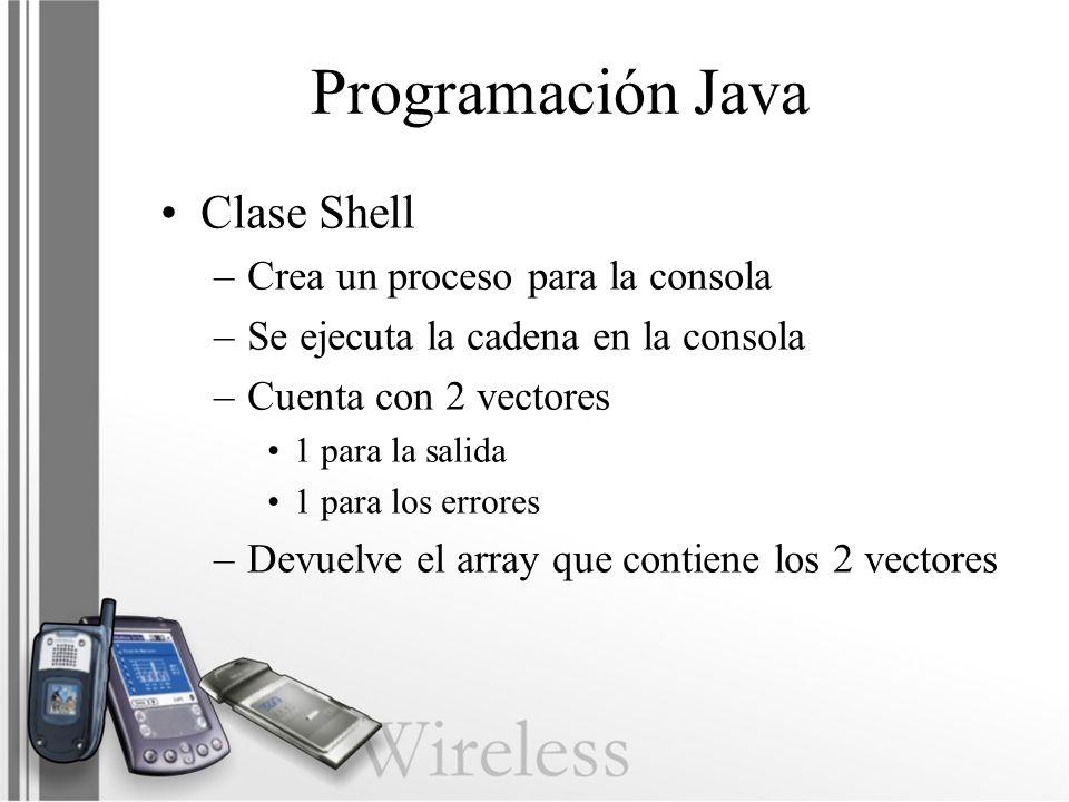 Programación Java Clase Shell Crea un proceso para la consola