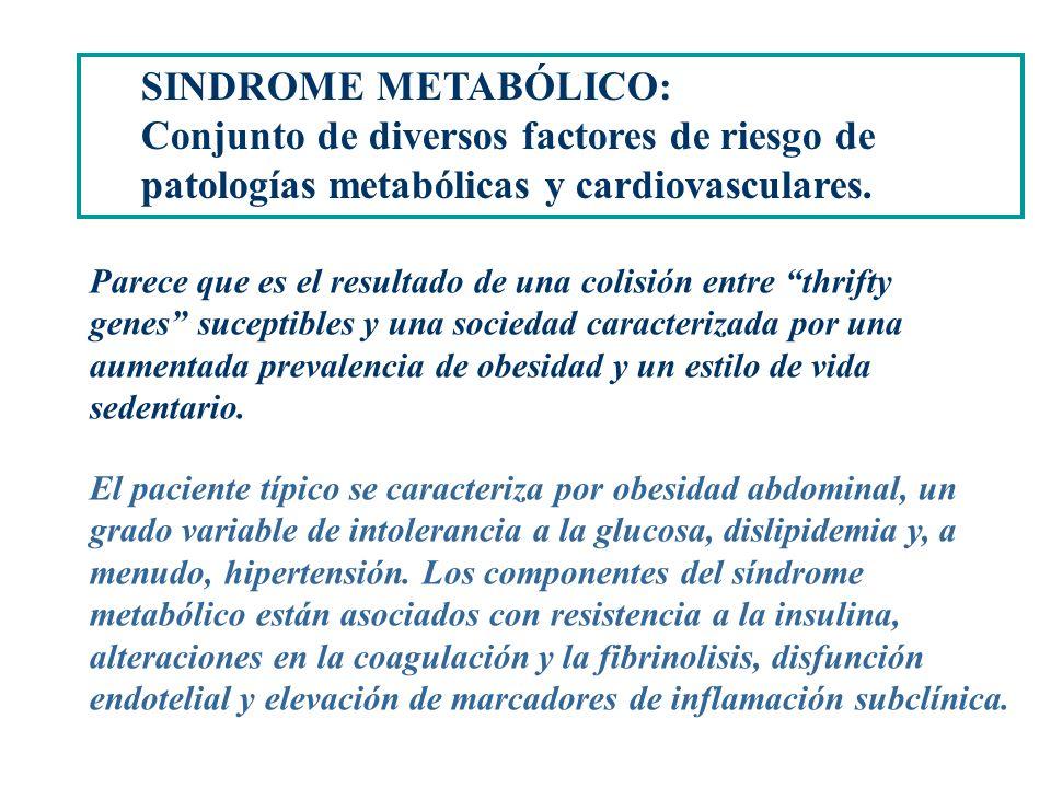 SINDROME METABÓLICO: Conjunto de diversos factores de riesgo de patologías metabólicas y cardiovasculares.
