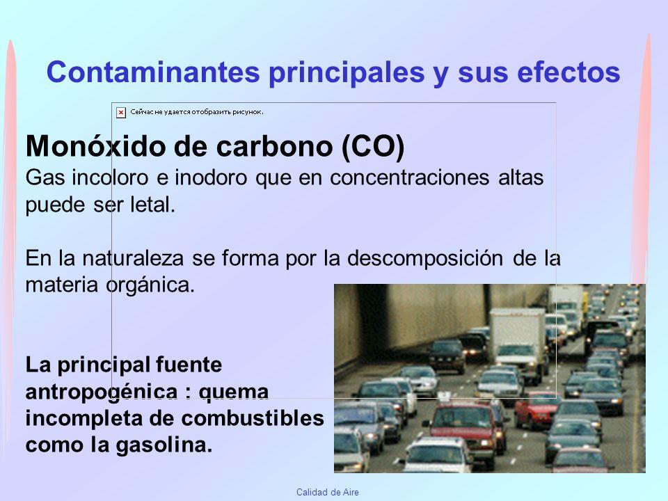Contaminantes principales y sus efectos