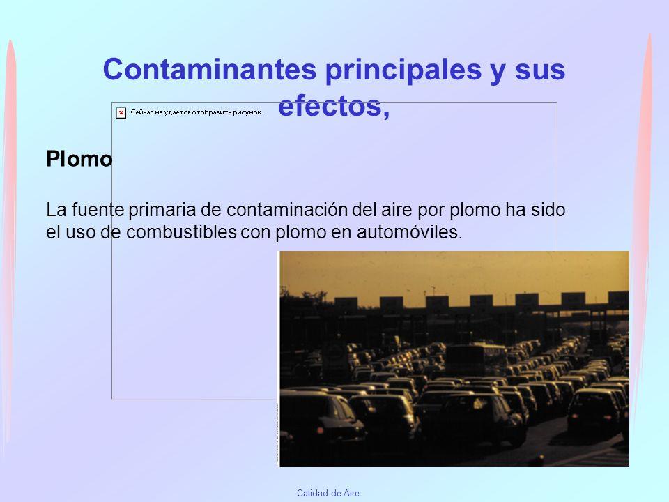 Contaminantes principales y sus efectos,