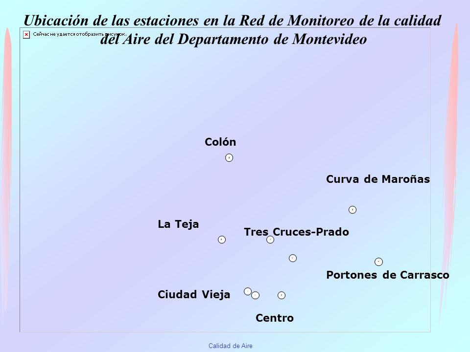 Ubicación de las estaciones en la Red de Monitoreo de la calidad