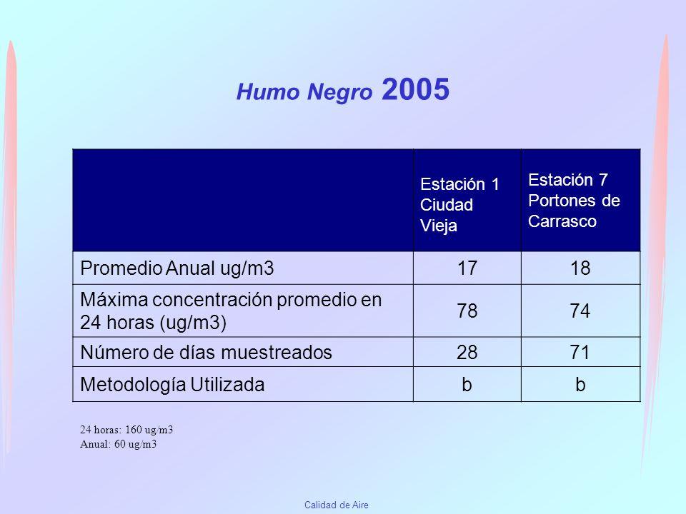 Humo Negro 2005 Promedio Anual ug/m3 17 18
