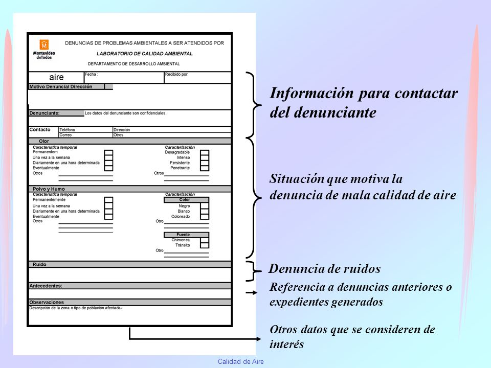 Información para contactar del denunciante