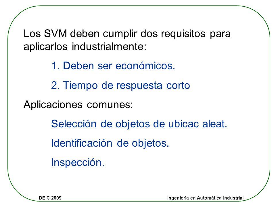 Los SVM deben cumplir dos requisitos para aplicarlos industrialmente: