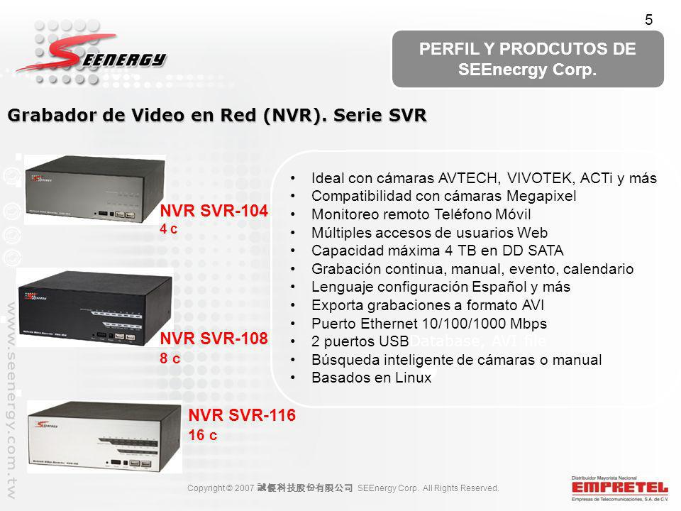 Grabador de Video en Red (NVR). Serie SVR