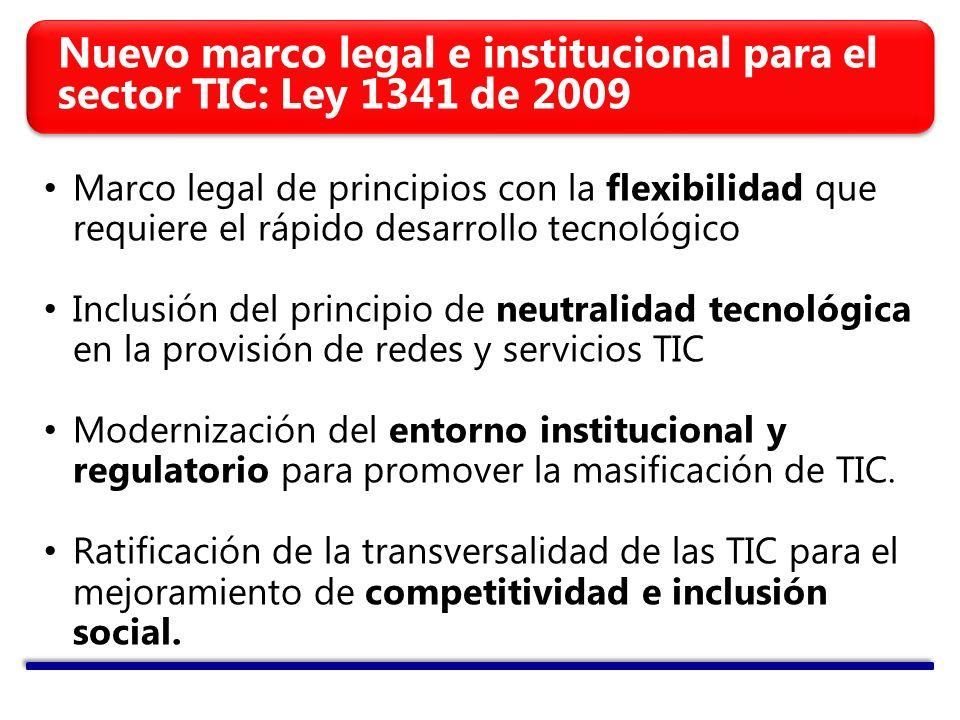 Nuevo marco legal e institucional para el sector TIC: Ley 1341 de 2009