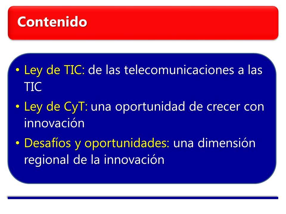 Contenido Ley de TIC: de las telecomunicaciones a las TIC