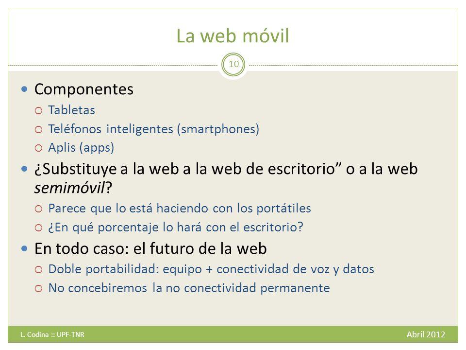 La web móvil Componentes