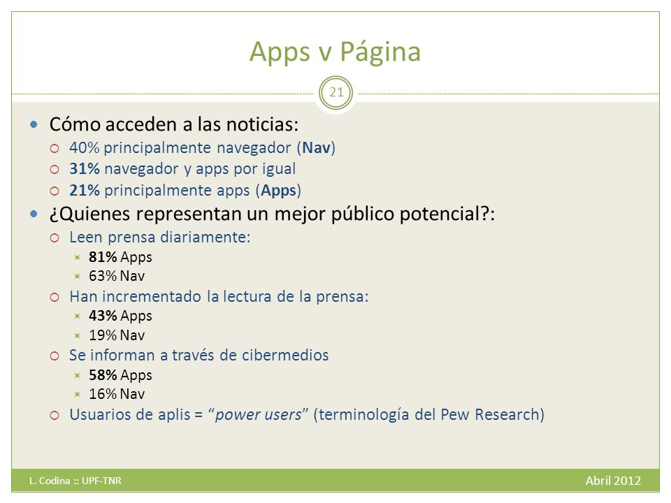 Apps v Página Cómo acceden a las noticias: