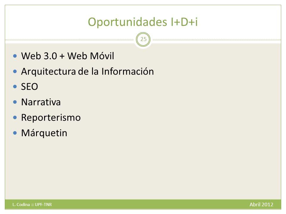 Oportunidades I+D+i Web 3.0 + Web Móvil Arquitectura de la Información