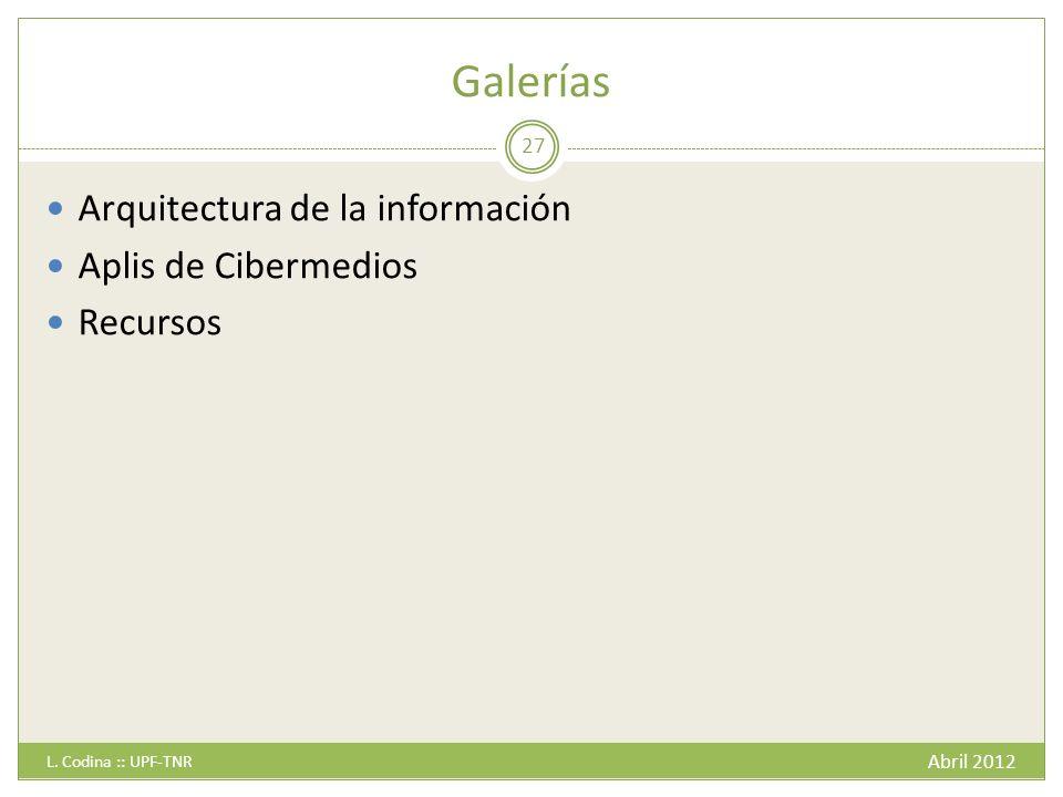 Galerías Arquitectura de la información Aplis de Cibermedios Recursos