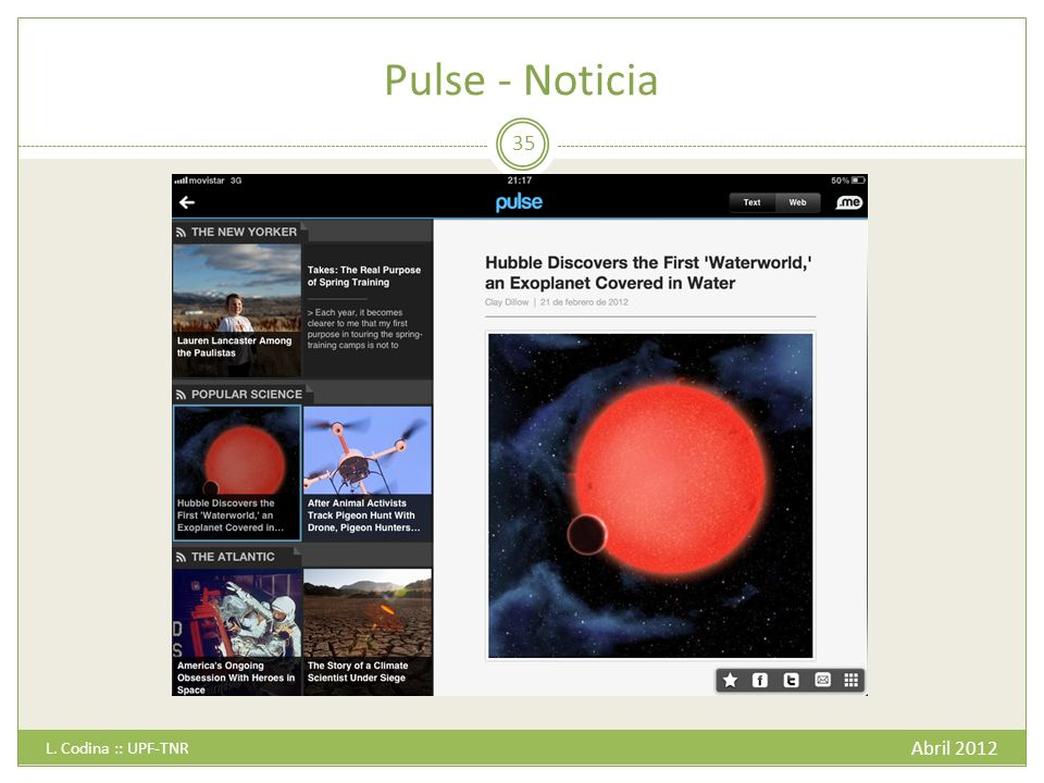 Pulse - Noticia L. Codina :: UPF-TNR Abril 2012
